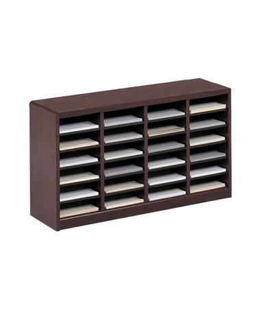 Safco E-Z Stor 24-Compartment Wood Literature Organizer Mahogany 9311MH