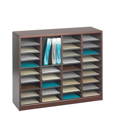 Safco E-Z Stor 36-Compartment Wood Literature Organizer Mahogany 9321MH