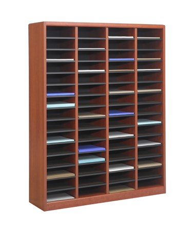 Safco E-Z Stor 60-Compartment Wood Literature Organizer Cherry 9331CY