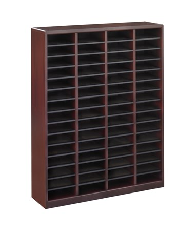 Safco E-Z Stor 60-Compartment Wood Literature Organizer Mahogany 9331MH