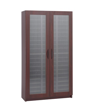 Safco 60-Compartment Literature Organizer With Doors Mahogany SAF9355MH