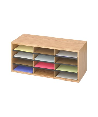Safco Wood/Corrugated Literature Organizer, 12 Compartments SAF9401MO