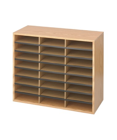 Safco Wood/Corrugated Literature Organizer, 24 Compartments SAF9402MO
