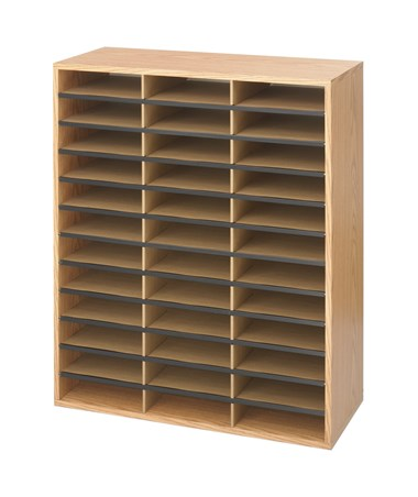 Safco Wood/Corrugated Literature Organizer, 36 Compartments SAF9403MO