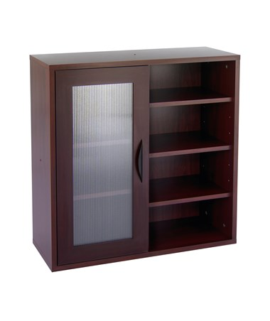 Safco Apres Single-Door Modular Storage Cabinet with Open Shelves Mahogany