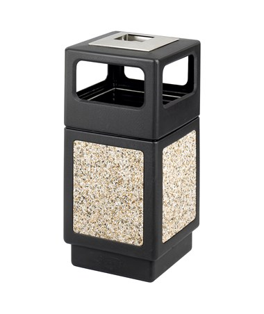 Safco Canmeleon 15-Gallon Side Open Aggregate Panel with Ash Urn Black