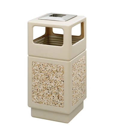 Safco Canmeleon 15-Gallon Side Open Aggregate Panel with Ash Urn Tan