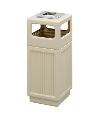 Safco Canmeleon 15-Gallon Side Open Recessed Panel Receptacle with Ash Urn Tan 9474TN