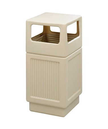 Safco Canmeleon 38-Gallon Side Open Recessed Panel Receptacle Tan 9476TN