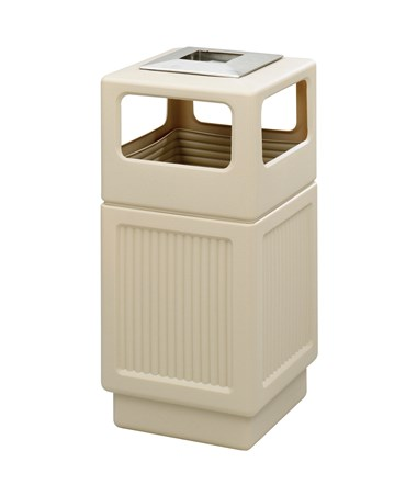 Safco Canmeleon 38-Gallon Side Open Recessed Panel Receptacle with Ash Urn Tan 9477TN