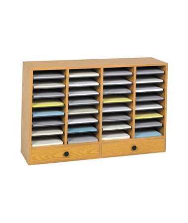 Safco Wood Adjustable Literature Organizer with Drawers Medium Oak 9494MO