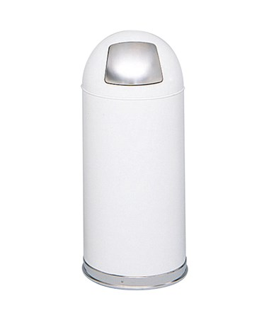 Safco Push Door Dome Top Receptacle White 9636WH