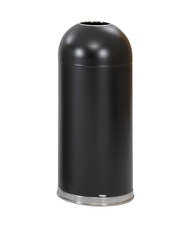 Safco Open Top Dome Receptacle Black 9639BL