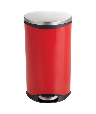 Safco Ellipse Step-On Waste Receptacle Red