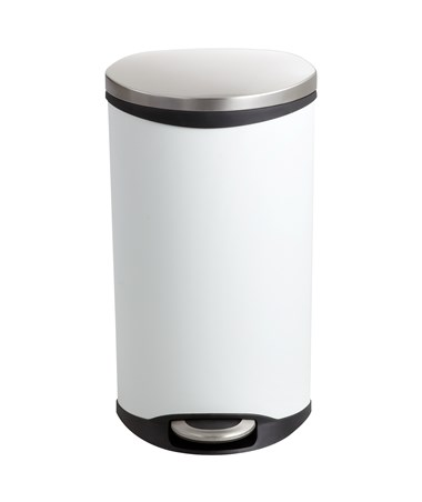 Safco Ellipse Step-On Waste Receptacle White