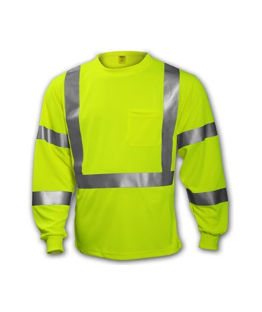 ANSI 107 CLASS 2 & 3 T-SHIRTS - Class 3 Fluorescent Yellow-Green - Long Sleeve TINS75522