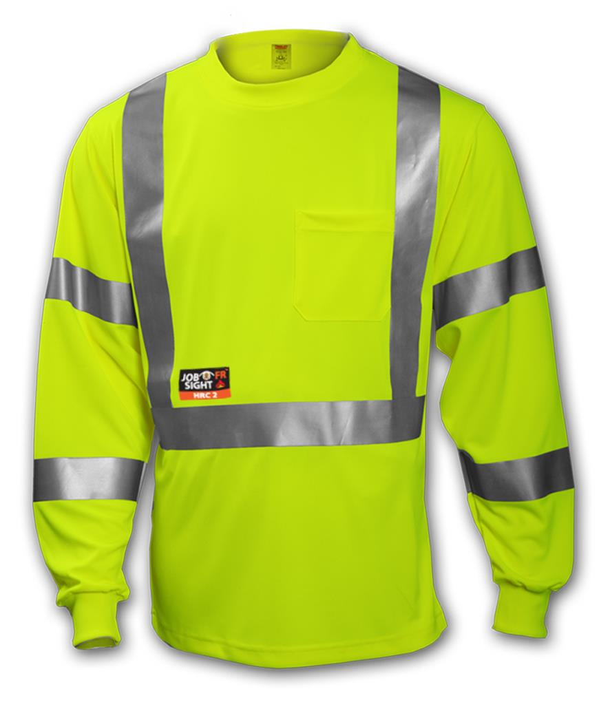 "ANSI 107 CLASS 3 & ASTM F1506 FR T-SHIRT- Fluorescent Yellow-Green - FR - Long Sleeve - 2"" FR Reflective Tape TINS85522"