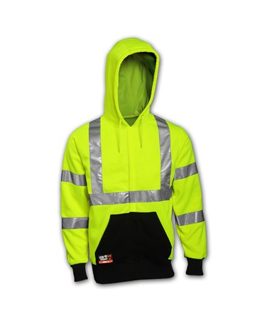"Tingley Sweatshirt - Fluorescent Yellow-Green - FR - Attached Hood - 2"" FR Reflective Tape TINS88122"
