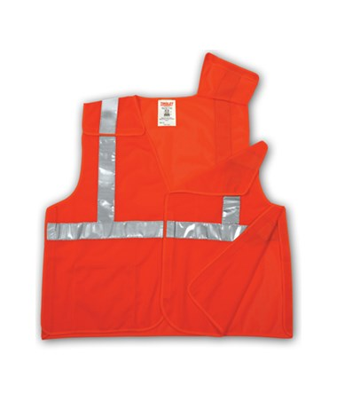 "ANSI 107 CLASS 2 SAFETY VESTS - Fluorescent Orange-Red - Mesh - 2"" Reflective Tape - 5 Pt Breakaway TINV70529"