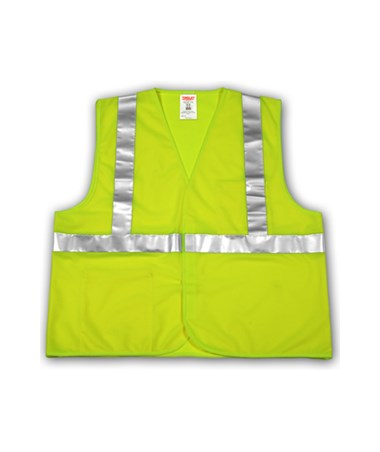 "ANSI 107 CLASS 2 SAFETY VESTS - Fluorescent Yellow-Green Solid - 2"" Reflective Tape - Hook & Loop Closure TINV71622"