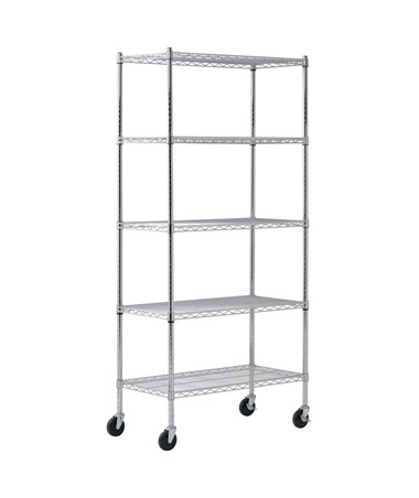 "5 Shelves and 2"" Nylon Casters - Silver"