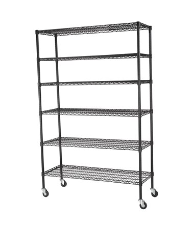 "6 Shelves and 3"" Rubber Casters - Black"