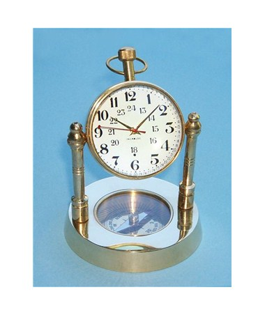 Brass Spherical Desk Clock with Magnetic Compass SLBSDCMC