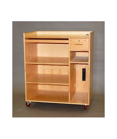 "SMI Mobile Computer Cabinet, 43""H, Double Shelf with Extra Storage CCM43"