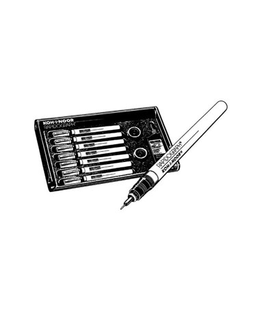 Koh-I-Noor Rapidograph 7-Pen Tech Set SP-7P