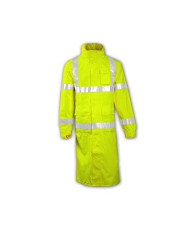 "ANSI 107 Class 3 Fluorescent Yellow-Green 48"" Coat with 2"" Silver TINC24122"