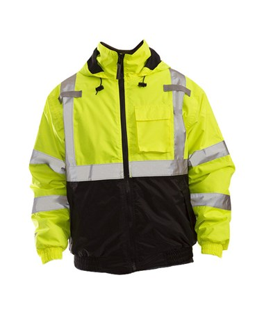 ANSI Compliant High Visibility Insulated Jacket Fluorescent Yellow - Green
