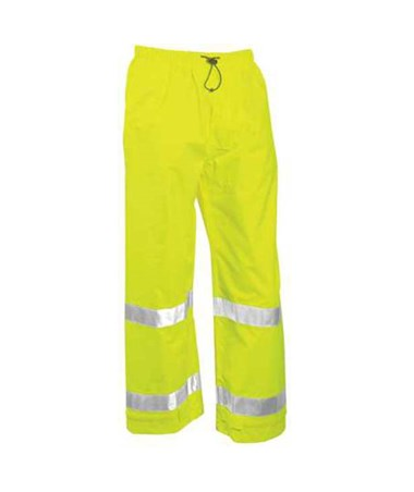 "ANSI 107 Class E Fluorescent Yellow-Green Pants with 2"" Silver Reflective Tape TINP23122"