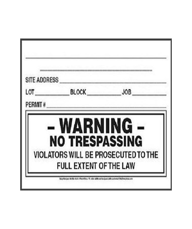 No Trespassing Decal for EZ Permit Box (12-Pack) TOLPPS1C200W