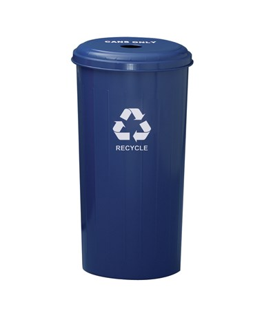 Tall Round Recycling Bin w/ Round Opening, Recycle Blue