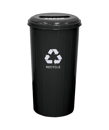 Tall Round Recycling Bin w/ Combination Opening, Black