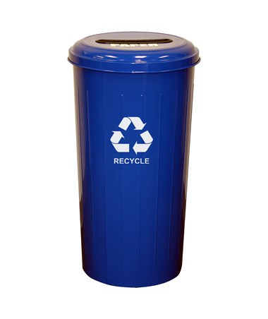 Tall Round Recycling Bin w/ Slot Opening, Recycle Blue