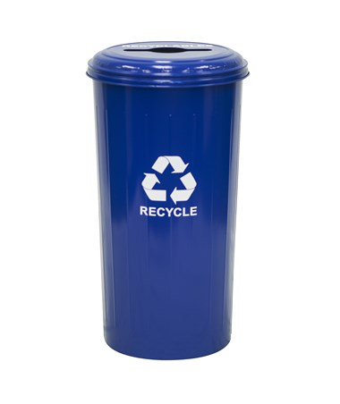 Tall Round Recycling Bin w/ Combination Opening, Recycle Blue