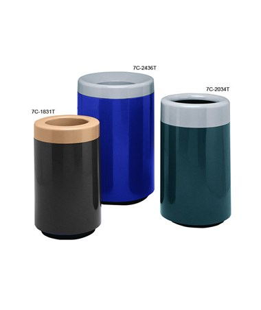Witt Two-Piece Round Top Entry Fiberglass Waste Receptacle  - Size Comparison