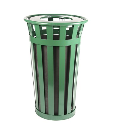 24 gal Green Outdoor Waste Receptacle w/ Flat Top