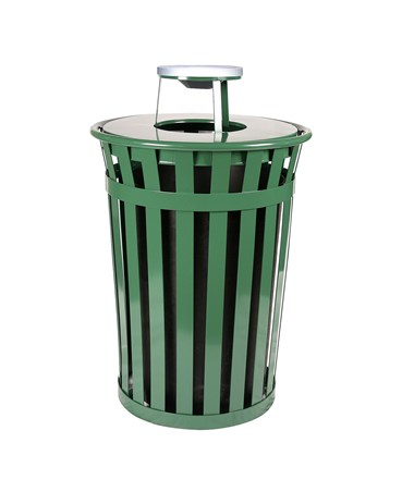 36 gal Green Outdoor Waste Receptacle w/ Ash Top