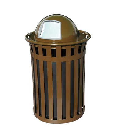 50 gal Brown Outdoor Waste Receptacle w/ Dome Top